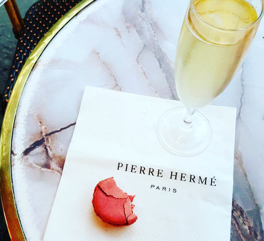 Macaron and champagne in Paris, France