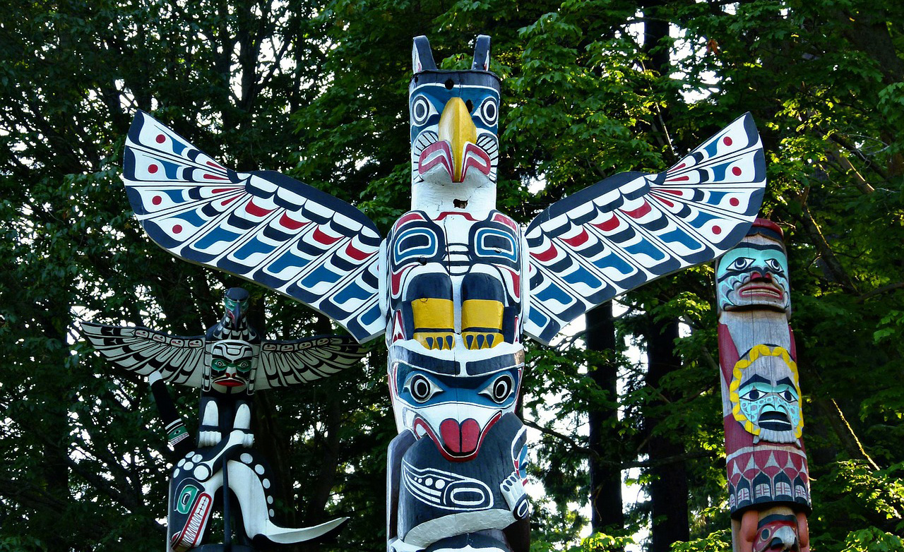 Totem Poles in Stanley Park, Vancouver, British Columbia